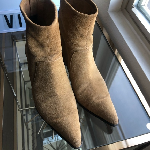 Zara Shoes - Zara Sand Colored Leather Heeled Ankle Boots - 7.5